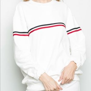 Brandy Melville red blue stripe sweater